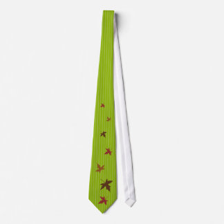 Apple Green Stripes Autumn Leaves Wedding Tie