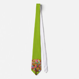 Apple Green Stripes Flower Tree Wedding Tie