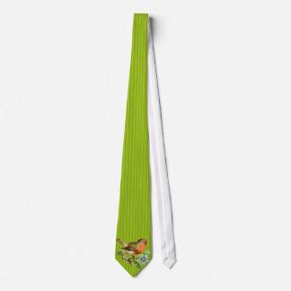 Apple Green Stripes  Vintage Bird Wedding Tie