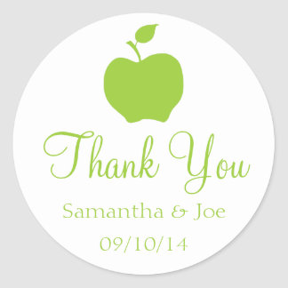 Apple Green Thank You Classic Round Sticker