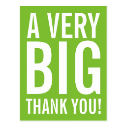 Apple green Thank you postcard with big typography