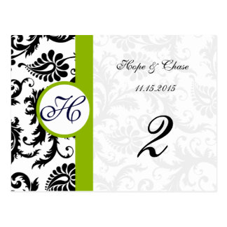 Apple Green Trim Black Damask Table Number Cards