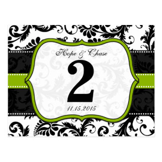 Apple Green Trim Damask Swirls Table Number Cards