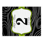 Apple Green Trim Damask Swirls Table Number Cards Postcard
