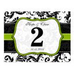 Apple Green Trim Damask Swirls Table Number Cards Postcards