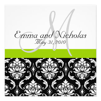 Apple Green Wedding Invitation Monogram Damask