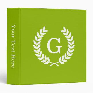 Apple Green Wheat Laurel Wreath Initial Monogram Binder