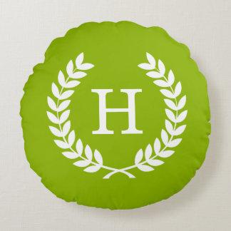 Apple Green Wheat Laurel Wreath Initial Monogram Round Pillow