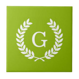 Apple Green Wheat Laurel Wreath Initial Monogram Tile