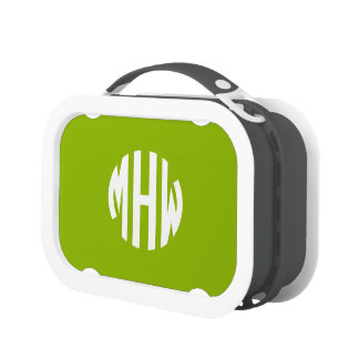 Apple Green White 3 Initials in a Circle Monogram Yubo Lunch Box