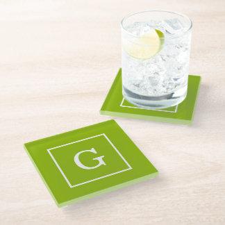 Apple Green White Framed Initial Monogram Glass Coaster