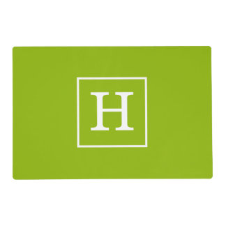 Apple Green White Framed Initial Monogram Placemat