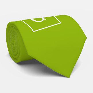 Apple Green White Framed Initial Monogram Tie