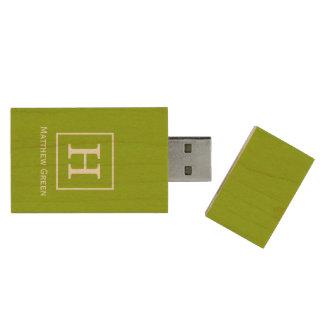 Apple Green White Framed Initial Monogram Wood USB Flash Drive