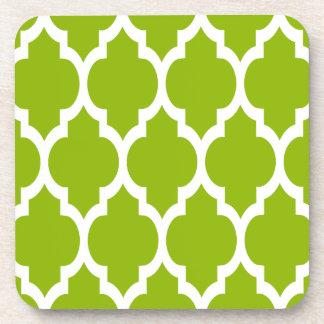 Apple Green White Moroccan Quatrefoil Pattern #4 Beverage Coaster