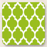 Apple Green White Moroccan Quatrefoil Pattern #4 Drink Coasters