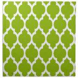 Apple Green White Moroccan Quatrefoil Pattern #4 Cloth Napkins