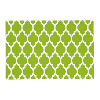 Apple Green White Moroccan Quatrefoil Pattern #4 Placemat