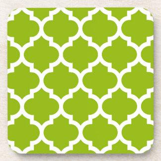 Apple Green White Moroccan Quatrefoil Pattern #5 Beverage Coaster