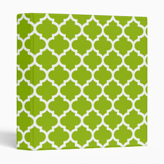 Apple Green White Moroccan Quatrefoil Pattern #5 Binder