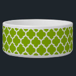 """Apple Green White Moroccan Quatrefoil Pattern #5 Bowl<br><div class=""""desc"""">Apple Green and White Moroccan Quatrefoil Trellis Pattern #5    You can customize this with your own text and / or images if you so choose to make your own unique design.    If you would like this design in other colors,  just drop us an email.    2014 &#169;FantabulousPatterns All rights reserved</div>"""