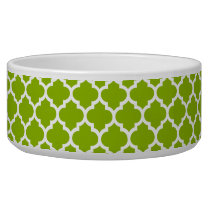 Apple Green White Moroccan Quatrefoil Pattern #5 Bowl
