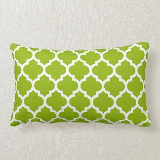 Apple Green White Moroccan Quatrefoil Pattern 5 Pillow