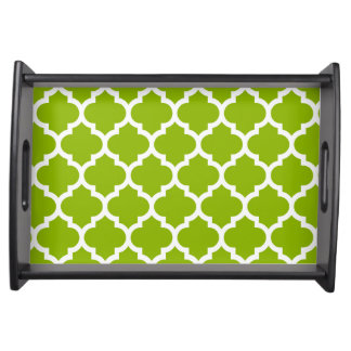 Apple Green White Moroccan Quatrefoil Pattern 5 Serving Platters