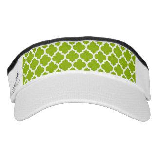 Apple Green White Moroccan Quatrefoil Pattern #5 Visor