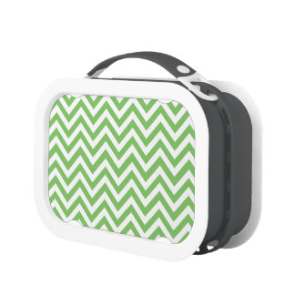 Apple green & White zigzag Lunch Boxes