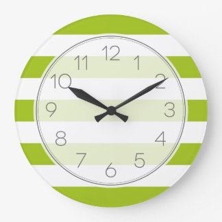 Apple Green Wide Stripes Wallclocks