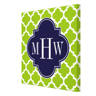 Apple Green Wt Moroccan #5 Navy 3 Initial Monogram Canvas Print