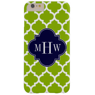 Apple Green Wt Moroccan #5 Navy 3 Initial Monogram Barely There iPhone 6 Plus Case