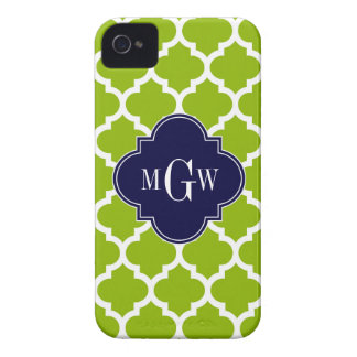Apple Green Wt Moroccan #5 Navy 3 Initial Monogram iPhone 4 Case