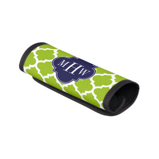 Apple Green Wt Moroccan #5 Navy 3 Initial Monogram Luggage Handle Wrap