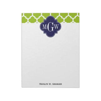 Apple Green Wt Moroccan #5 Navy 3 Initial Monogram Notepad