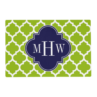 Apple Green Wt Moroccan #5 Navy 3 Initial Monogram Placemat