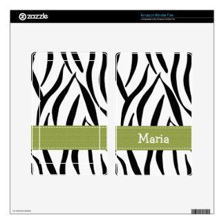 Apple Green Zebra Print Kindle Fire Skin