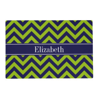 Apple Grn Navy LG Chevron Navy Blue Name Monogram Placemat