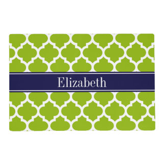 Apple Grn Wht Moroccan #5 Navy Blue Name Monogram Placemat