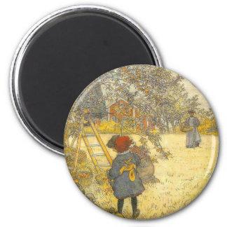 Apple Harvest by Carl Larsson Vintage Magnet