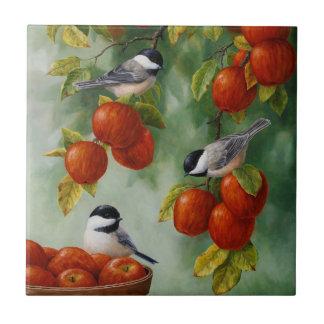 Apple Harvest Chickadees Ceramic Tiles