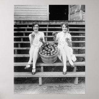Apple Harvest Girls, 1927. Vintage Photo Poster
