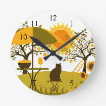 Apple Harvest Round Clock