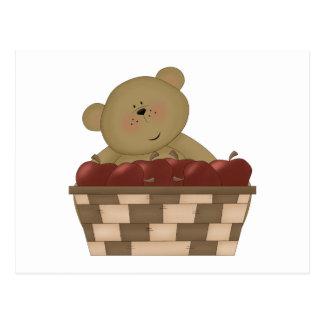 apple harvest teddy bear postcard