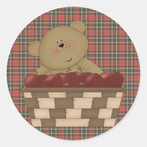 apple harvest teddy bear round sticker