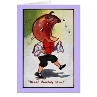 Apple-Headed Boy Bitten Card