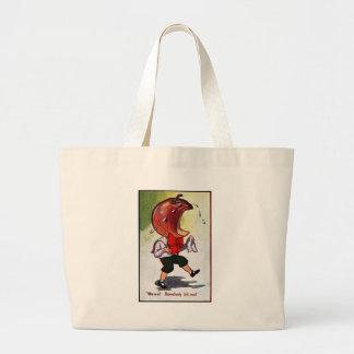 Apple-Headed Boy Bitten Large Tote Bag