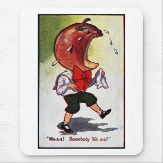 Apple-Headed Boy Bitten Mouse Pad