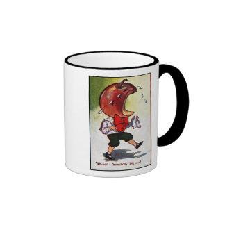 Apple-Headed Boy Bitten Ringer Mug